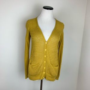 Anthropologie Sparrow Mustard Crochet Cardigan